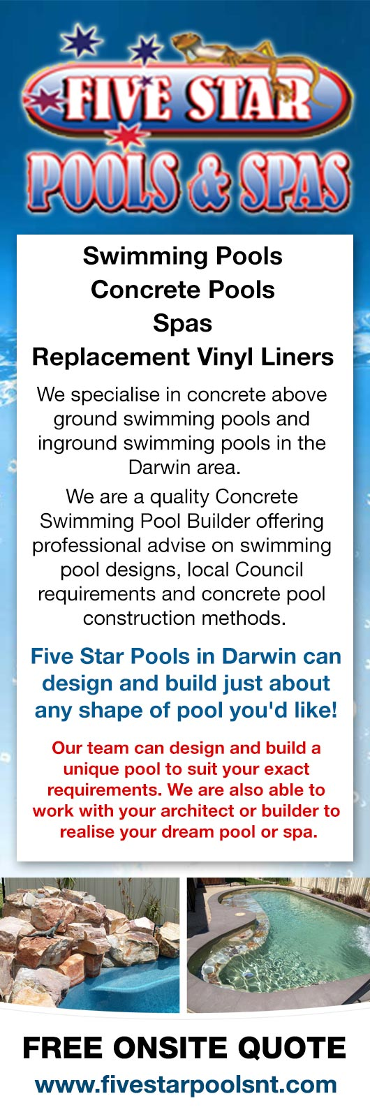 Professional Pool Designers swimming pool software Five Star Concrete Pool Specialists Promotion