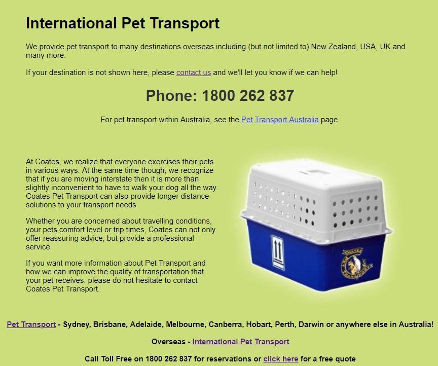 Coates Pet Transport - Pet Transport Services - 65 Hambridge