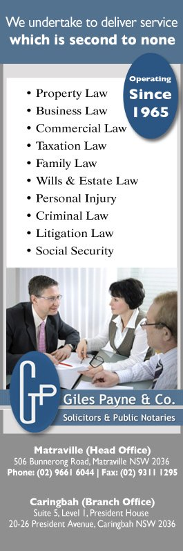 Giles Payne & Co - Lawyers & Solicitors - 506 Bunnerong Rd - Matraville