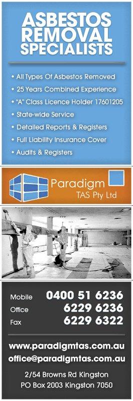 Paradigm Tas Pty Ltd Asbestos Removal 2 54 Brown Rd