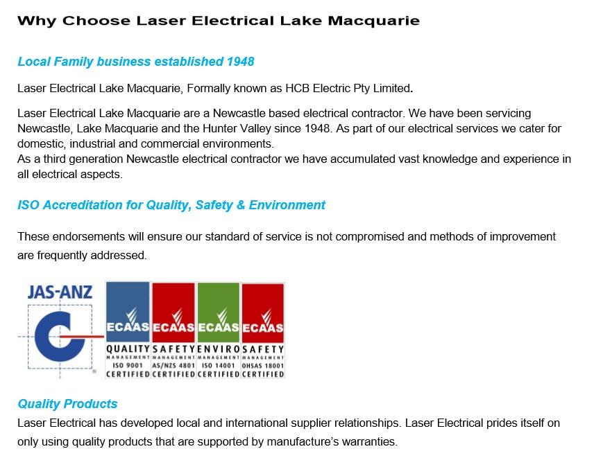 Laser Electrical - Electricians & Electrical Contractors - CESSNOCK