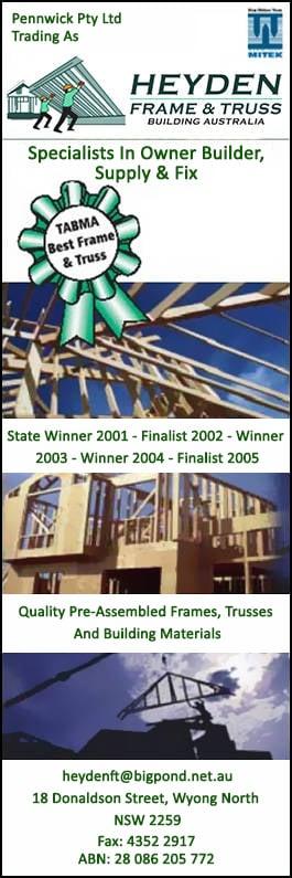 Heyden Frame & Truss Pty Ltd - Roof Trusses & Wall Frames ...