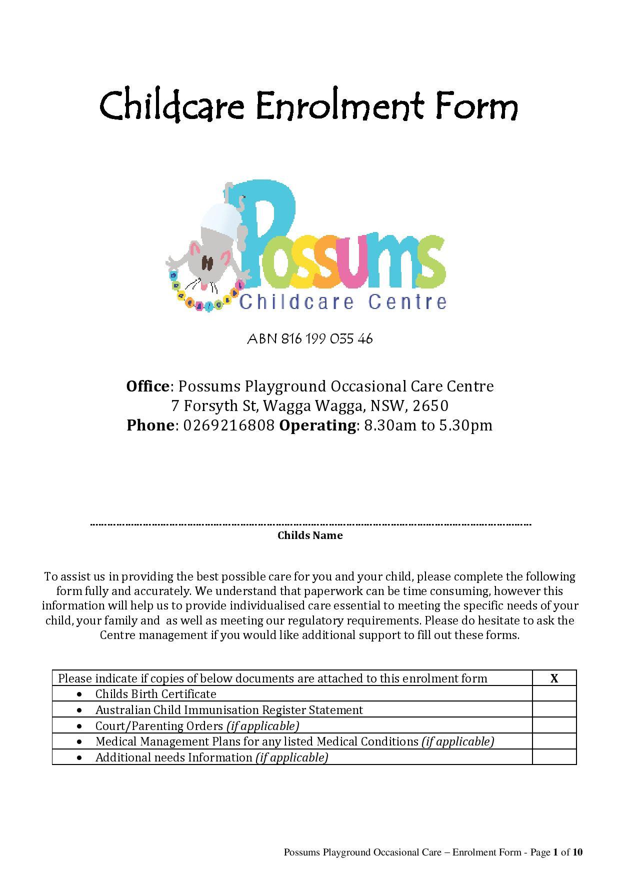 Possums playground occasional child care centre inc child care possums enrollment form 2016 aiddatafo Choice Image