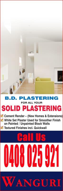 B D  Plastering - Plasterers - 5 Katoope St - Wanguri