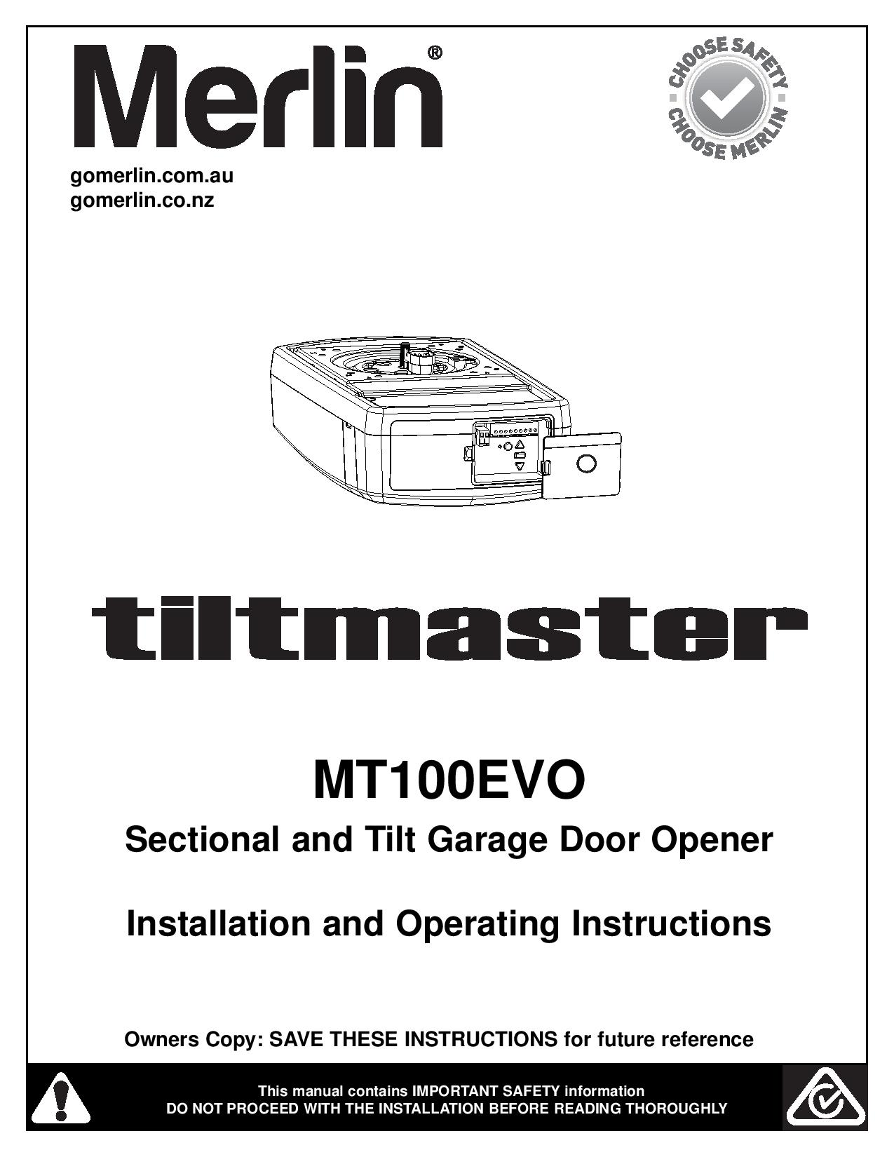 merlin garage door openers 230t manual