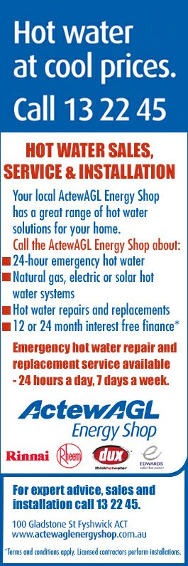 Actewagl Energy Shop Hot Water Systems 100 Gladstone