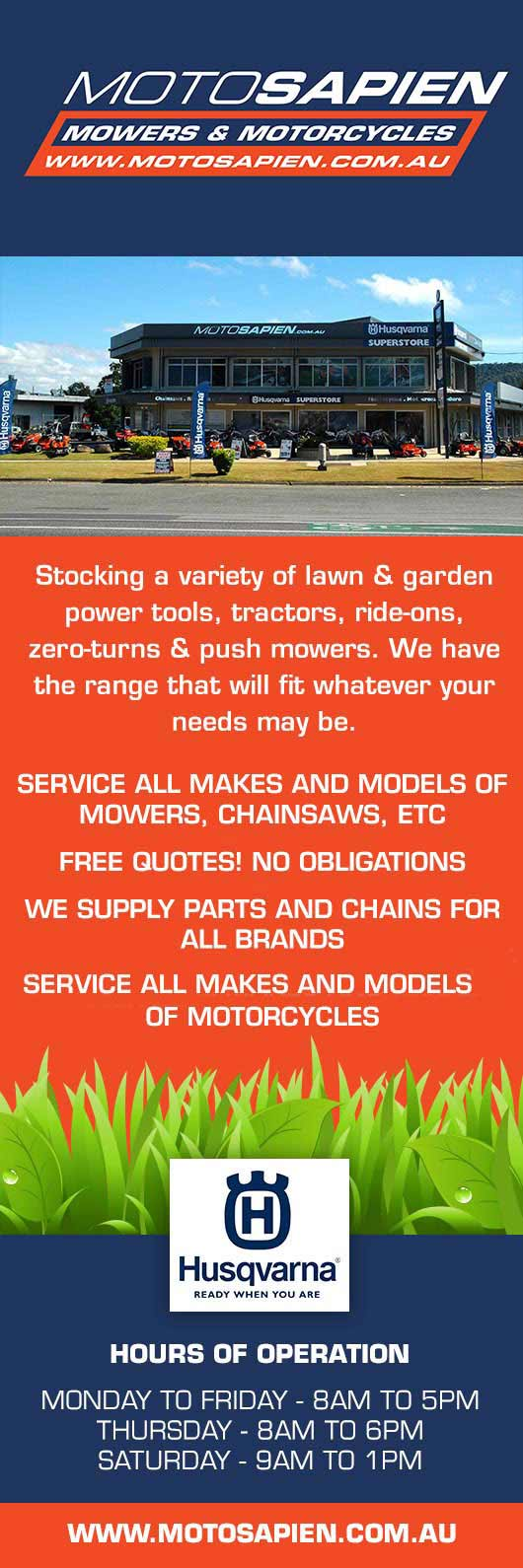 Motosapien Mowers Amp Motorcycles Cairns Lawn Mower Shops
