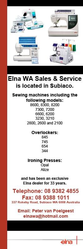 Elna WA Sales & Service - Sewing Machines - 337 Rokeby Rd - Subiaco