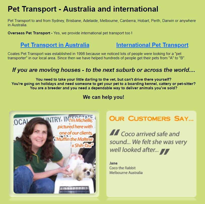 Coates Pet Transport Pet Transport Services 65 Hambridge Rd Bargo