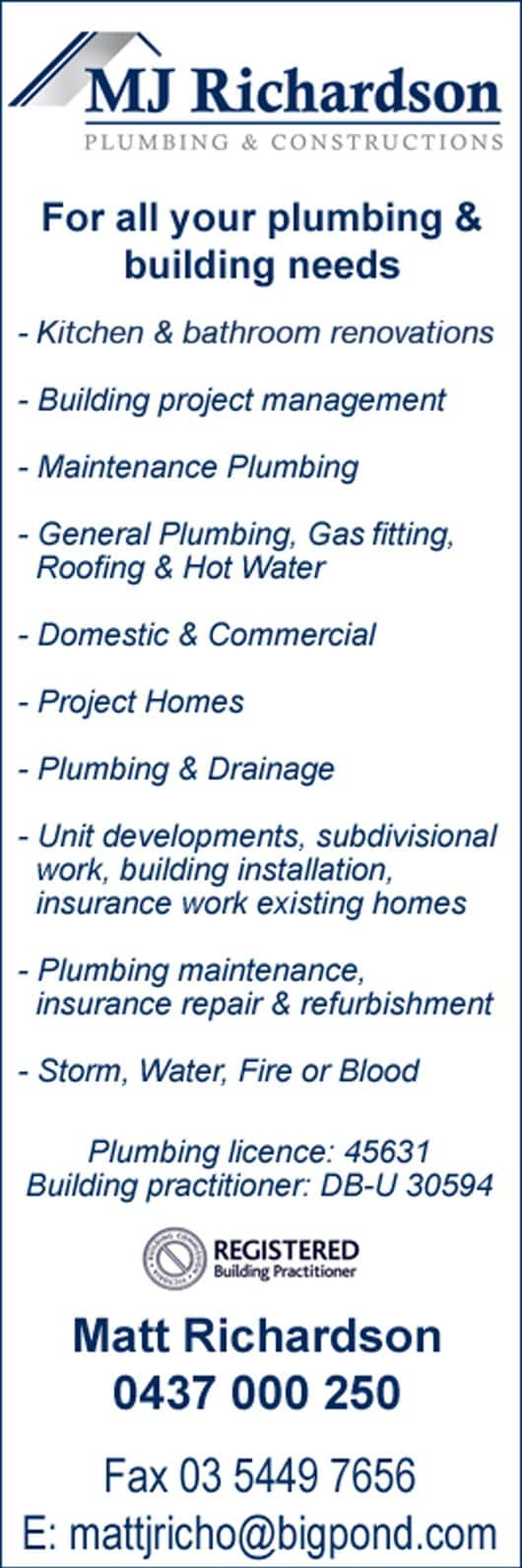 Bathroom Renovations Bendigo mj richardson plumbing & constructions - plumbers & gas fitters