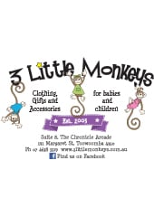 3 little monkeys babies wear retail chronicle arcade suite 8 business card front reheart Choice Image