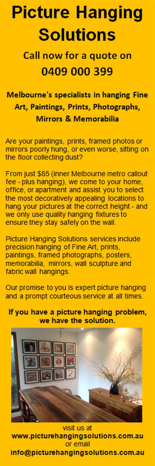 Picture Hanging Solutions - Photo Frames & Picture Framing - 4 Henry ...
