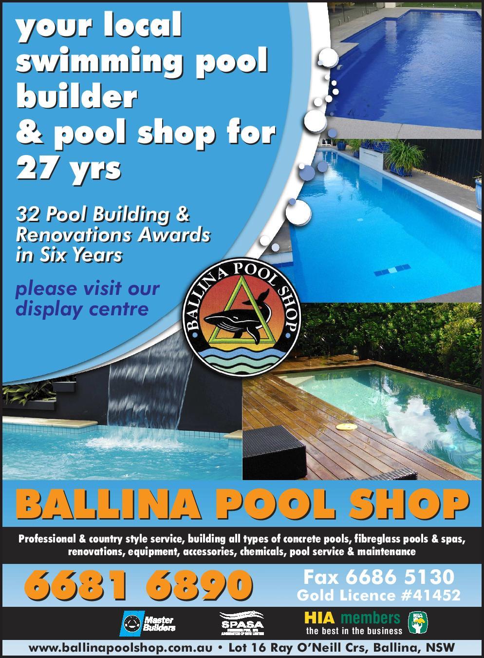 Ballina pool shop swimming pool designs construction for Pool builders yamba