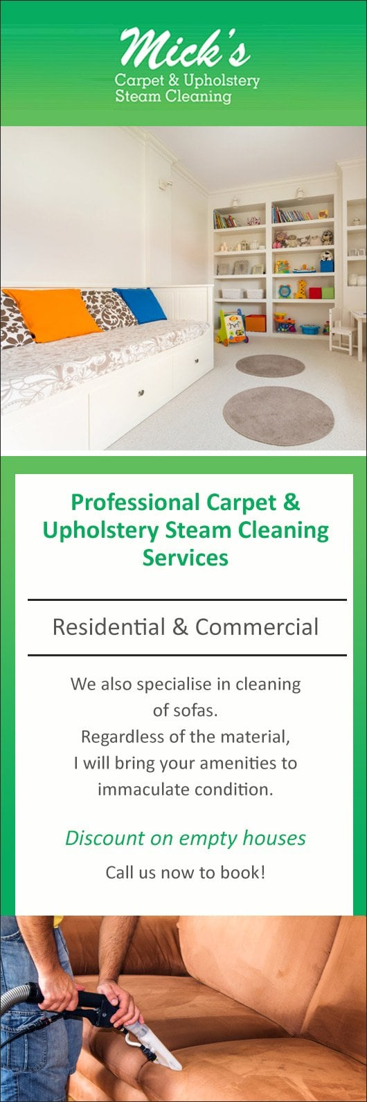 Mick s carpet upholstery steam cleaning promotion
