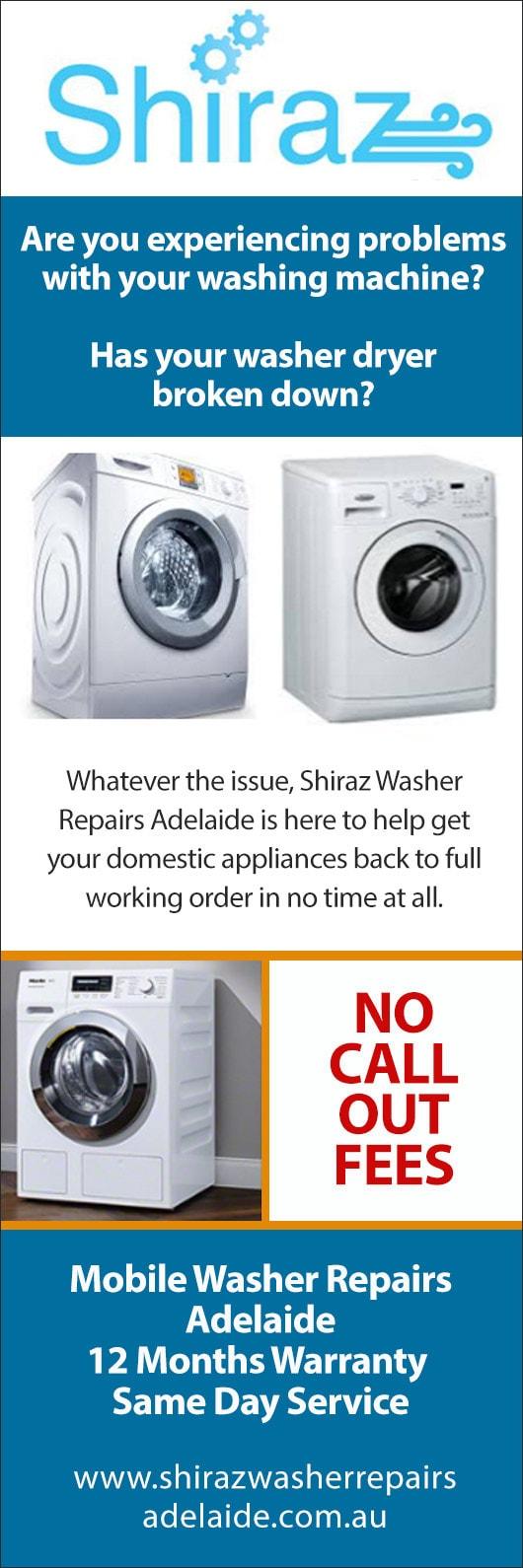 shiraz washer repairs adelaide - washing machines & dryer
