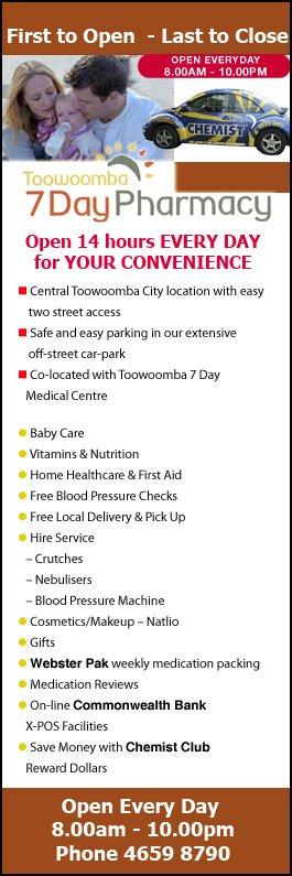 Toowoomba 7 Day Pharmacy - Chemist & Pharmacy Stores - Cnr James ...