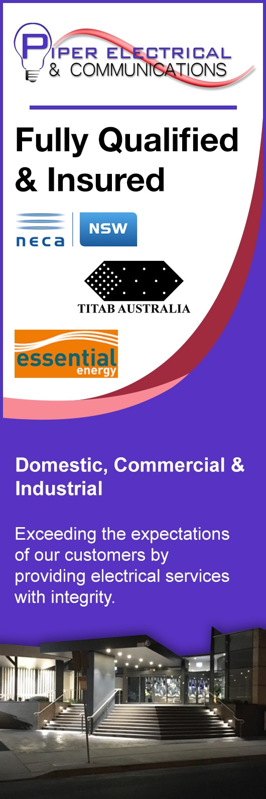 Piper Electrical Communications Electricians Residential Wiring Australia Promotion