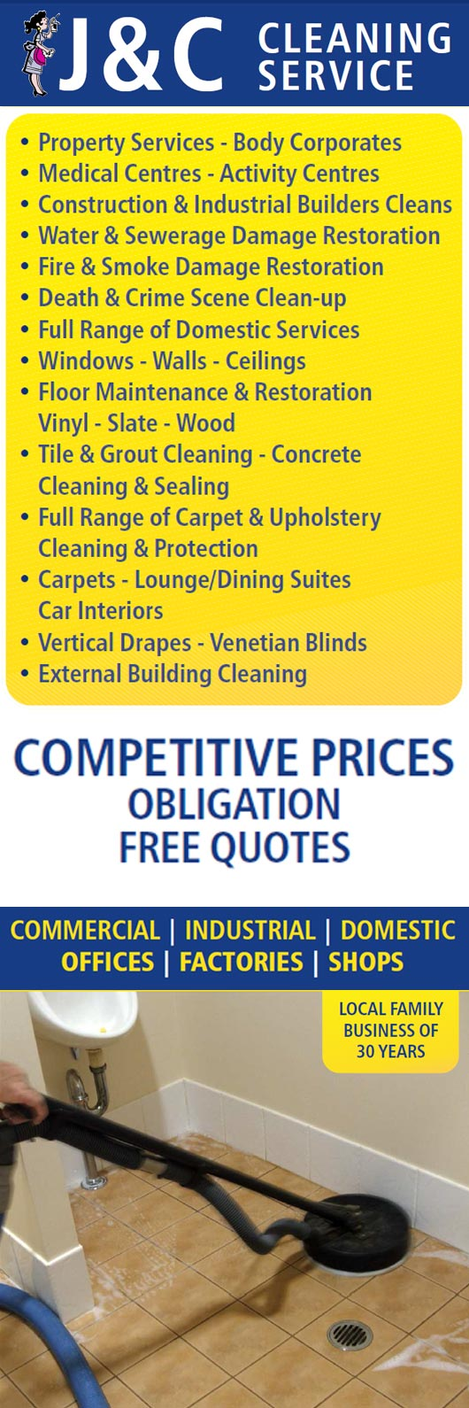 J c cleaning service promotion