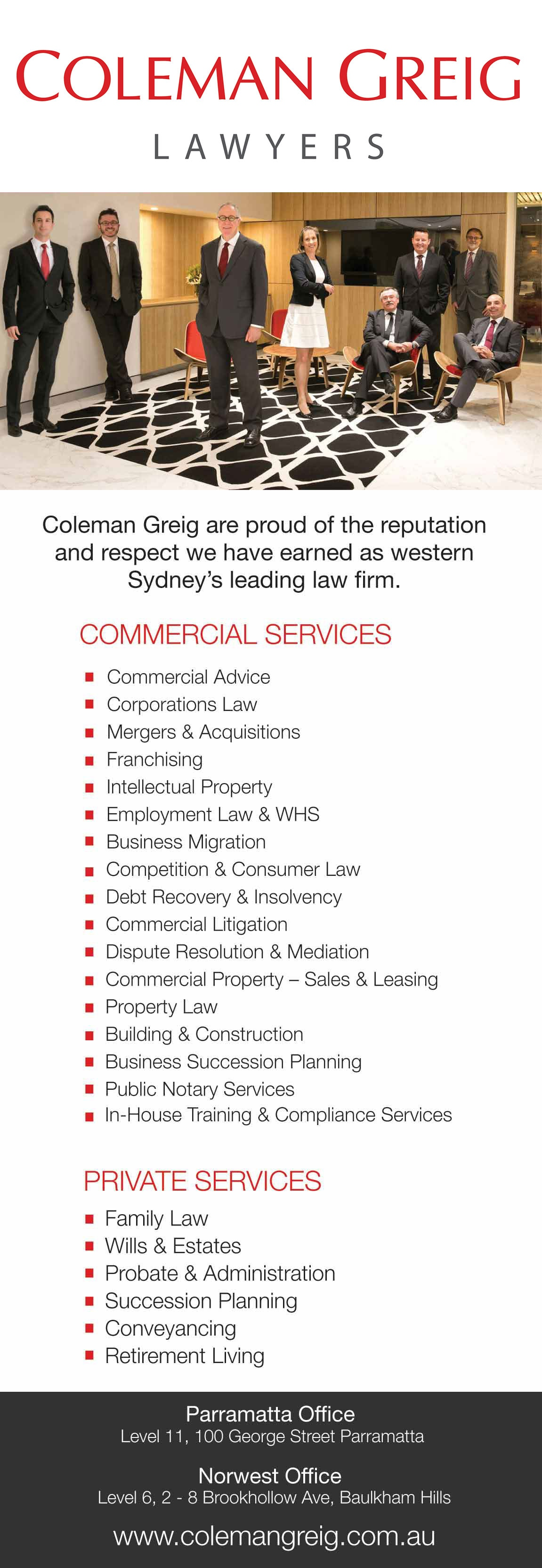 Coleman Greig Lawyers - Lawyers & Solicitors - Level 11 100