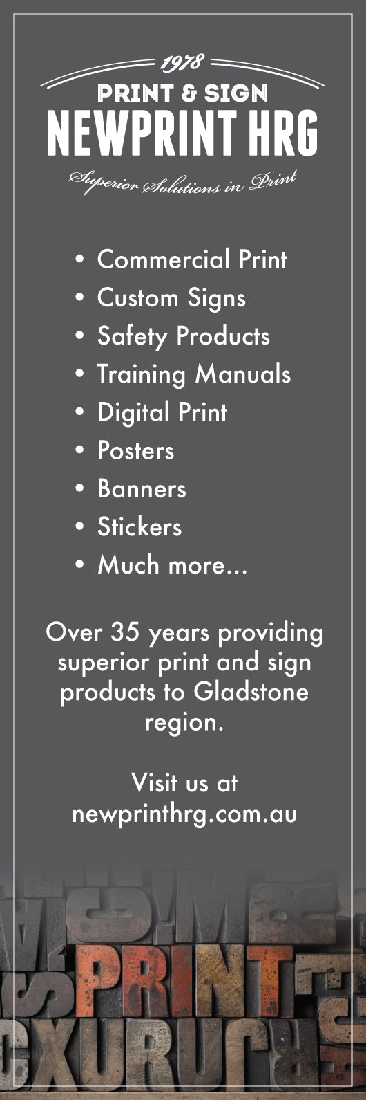 We provide a huge range of printed sign and paper products call us on 49732