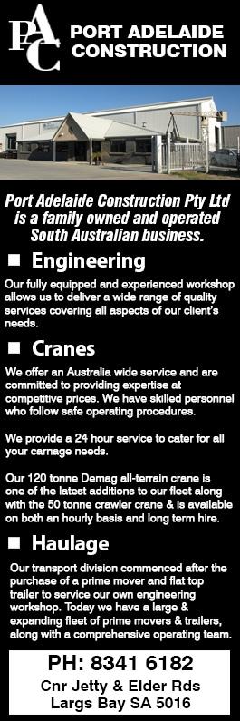 Port Adelaide Construction Pty Ltd - Heavy Haulage - Cnr Jetty