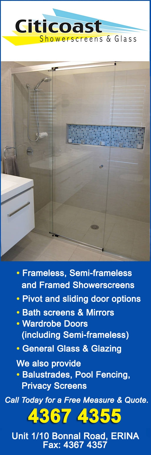 Citicoast Showerscreens & Glass - Shower Screens - 1/ 10 Bonnal Rd ...