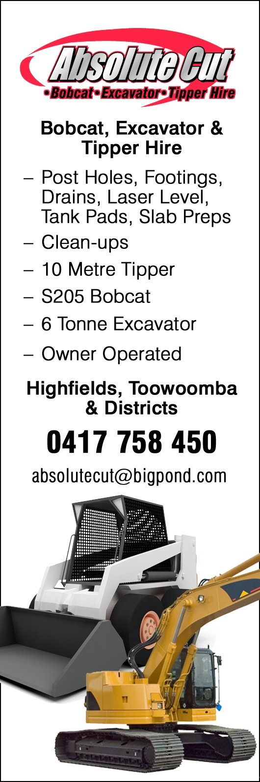 Absolute Cut Bobcat Excavator Tipper Hire - Excavation & Earthmoving