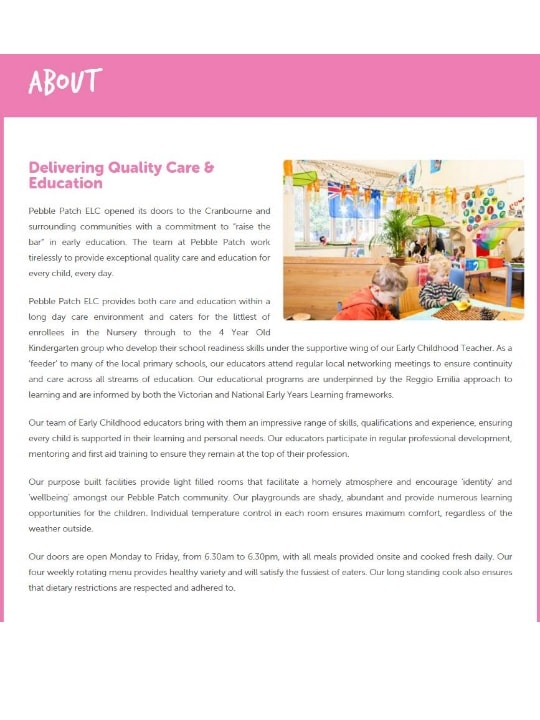 Pebble Patch Early Learning Centre - Child Care Centres - 975