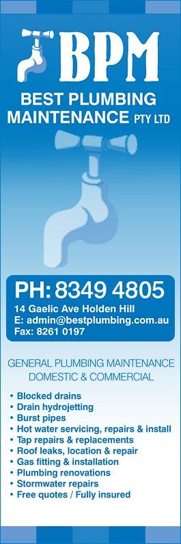 Best Plumbing Maintenance Pty Ltd Plumbers Amp Gas Fitters