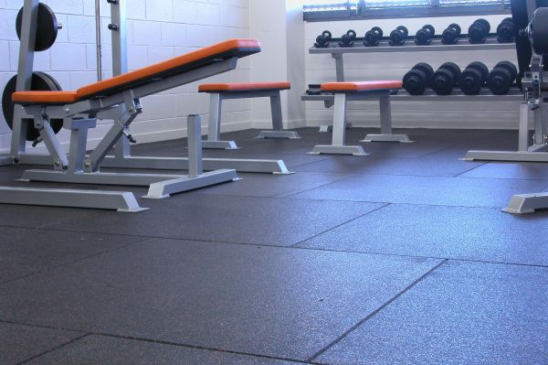 Rubber tile gym flooring