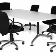 i am Folding Boardroom Table with Medium Back Executive Chairs